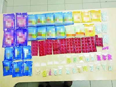 警方在突击行动中起获大量毒品,其中以摇头丸占据多数。