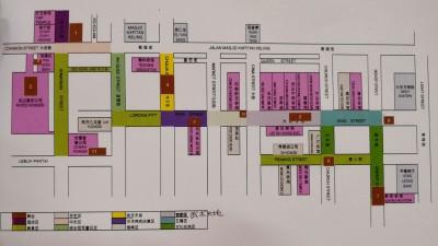 槟城集市活动地点是自十分都巷到漆木街,包有11单舞台、美食区、手艺区、街头冠军童玩区、武术天地和文化交流区等。