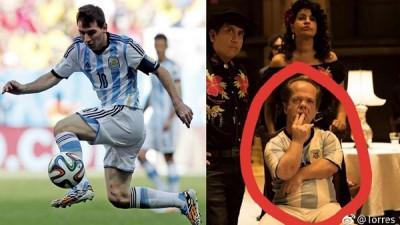 《唐人街探案2》安排侏儒角色(右图)穿着知名球星梅西穿过的阿根廷10号球衣。