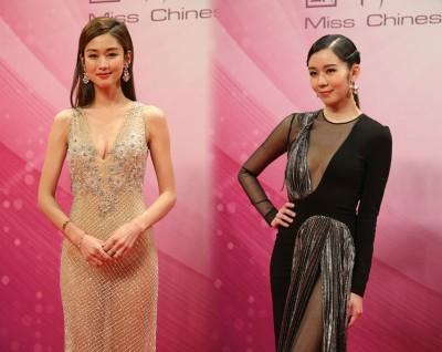 岑丽香和麦明诗性感现身《中华小姐》选举。