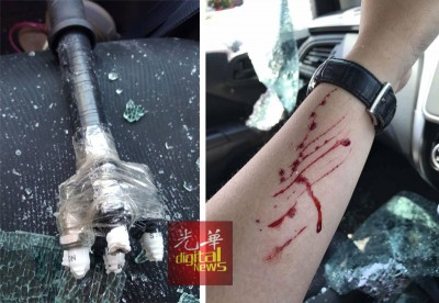 (左)匪徒以火花塞自行改装干案工具敲破车镜。(右)李佩佩在抗匪中被车镜划伤手部。