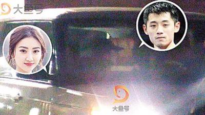 景甜(左)与张继科在车上热吻的影片被流出。