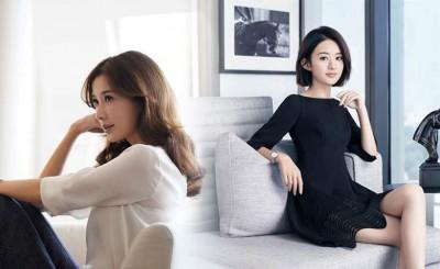 (左)浪琴表发布林志玲拍摄RECORD新表广告,奠定她在浪琴表的一姐地位。(右)浪琴表代言人赵丽颖在广告中,也配戴与林志玲一样的RECORD 同款钻表。