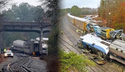 (左图)列车相撞现场。(法新社照片)(右图)美国一列载客列车与一列货运列车在南卡罗莱纳州发生撞车事故,列车车头翻覆,车厢脱轨,至少2人丧生。