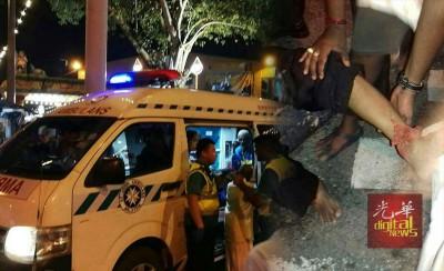 老街场斯里苏巴马廉新兴都庙庆祝大宝森节酿爆竹爆炸案,现场共有26人受伤。(右)其中一名伤势较严重者被送入医院接受治疗。