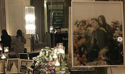 太阳与闵孝琳选用先前拍的黑色礼服当婚纱照。
