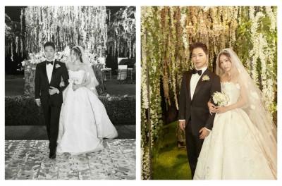 经纪公司公开太阳与闵孝琳(右)的婚宴照,闵孝琳甜蜜凝望太阳。(右图)太阳与闵孝琳在仁川Paradise City举行婚宴及结婚派对。