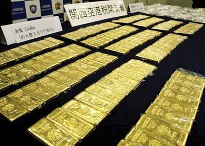 日本当局检获大批走私黄金。