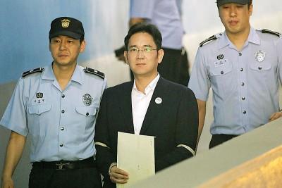 李在镕去年8月一审中判刑5年。(法新社照片)