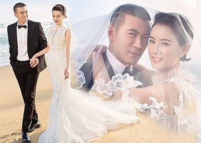 黄圣依和丈夫杨子结合10周年,交海边拍婚纱,大浪漫。