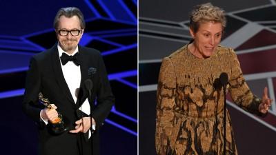 (左)英国资深影星盖瑞欧德曼以《最黑暗的时刻》在奥斯卡称帝,拥抱生涯首座小金人。 (右)美国资深女星法兰西丝麦多曼一如预期以《意外》在奥斯卡封后,抱回第2座小金人。