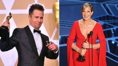 (左)山姆洛克威尔以《意外》拿下最佳男配角。 (右)艾莉逊珍妮以《老娘叫谭雅》获得最佳女配角。