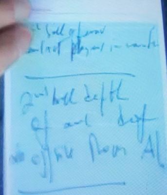 """穆帅之记录本写的星星只关键词是""""卢卡库""""同""""亚落点""""。"""