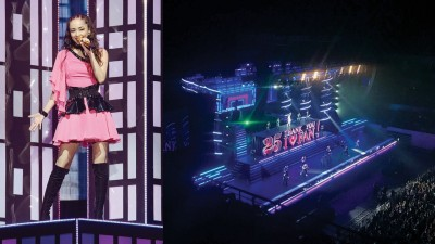 """安室奈美惠于深圳开唱。演唱会最后,舞台升起""""25 THANK YOU I LOVE FAN!""""的特大型字牌。"""