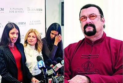 宪章薇欧拉达迪斯(左图左起)以律师陪同下和雷吉娜席蒙斯状告遭史提芬史葛(右图)性骚、强暴。
