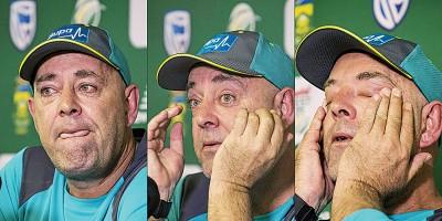 澳洲男子板球队主教练达伦莱曼拭擦哭红的眼眶宣布辞职。