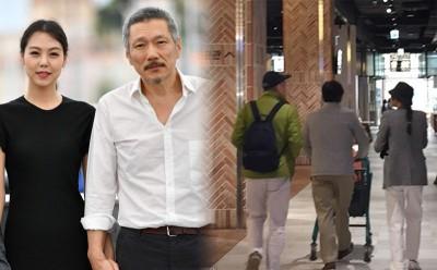 (左)洪尚秀与金敏喜不伦恋轰动韩国演艺圈。(右)洪尚秀、金敏喜近日被拍到逛商场,金敏喜的父亲也同行。