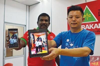 沙拉瓦纳(左)及卢界燊,促林冠英针对照片中人物作出回应。