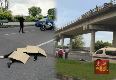陈佩杏于数十尺高的高架公路上坠下地面身亡!\