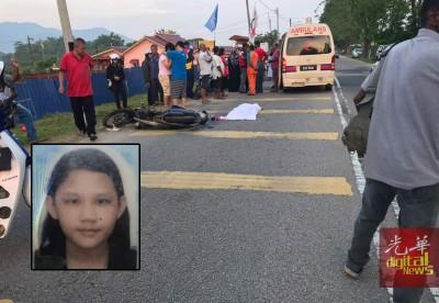 一对华裔姐妹共乘摩托车上学,讵料却在一场车祸中阴阳相隔。(小图)死者为16岁的文嘉慧。