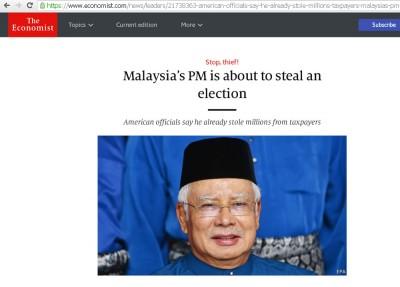 """《经济学人》(The Economist)刊登一篇名为""""大马首相将窃取选举""""的文章。"""