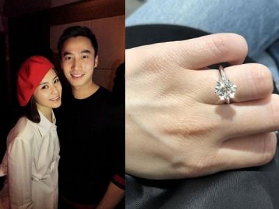 阿娇(左图左起)跟男友赖弘国就订婚。