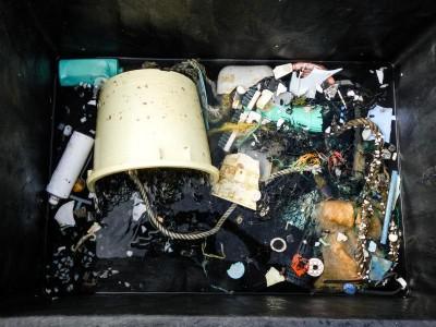 海洋清理基金会发布的照片显示,他们从太平洋海域收集到的塑料垃圾。(法新社)
