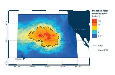 海洋清理基金会发布的垃圾岛增长数据模拟图。