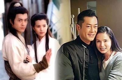 """(左)1995年古天乐与李若茜演出""""神雕侠侣""""。(右)李若茜晒出和古天乐合照。"""