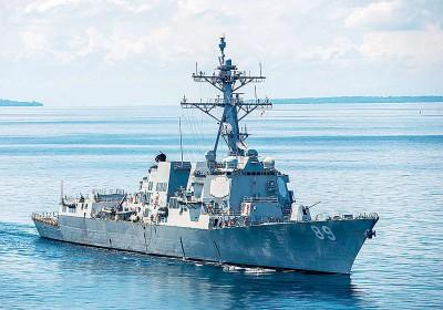 美舰马斯廷号闯入南沙群岛美济礁12海里范围。