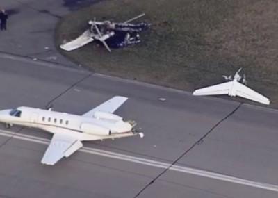 小飞机几乎报销;喷射机机尾则被削走。