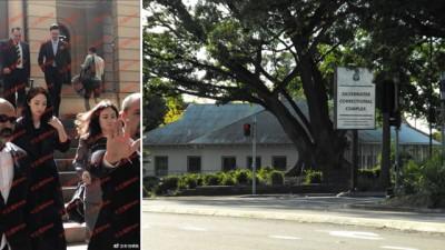 (左)董璇出庭旁听。(右)地面华人爆料高云翔被关在悉尼银水监狱。