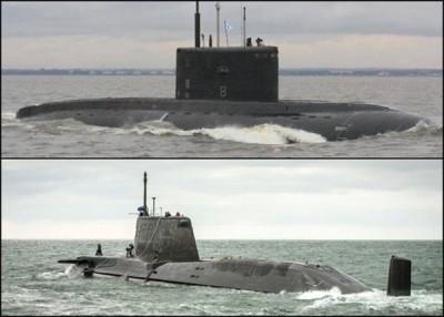 出因俄军基洛级潜艇(上图)以地中海追赶英军机敏级核潜艇(下图)。