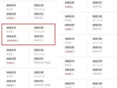 林志玲多年来低调捐款的明细,其中一笔多达1千万人民币。