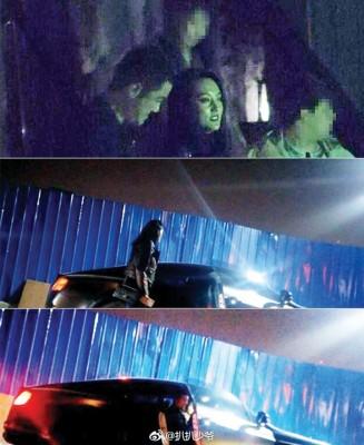 李亚鹏和神秘女子聚会,神秘女子之后坐在李亚鹏大腿上搭车离开。