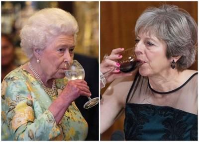英女王(左)和特丽莎梅(右)被指同好杯中物。