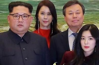 网友推测Red Velvet队长Irene(前排右),疑似被金正恩(前排左)看上。