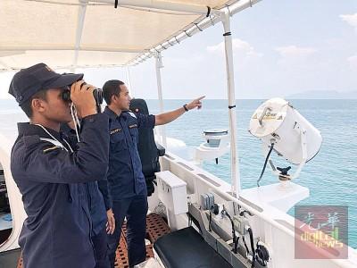 大马海事执法机构在北部海域巡逻,以鉴定有关难民船的行踪。