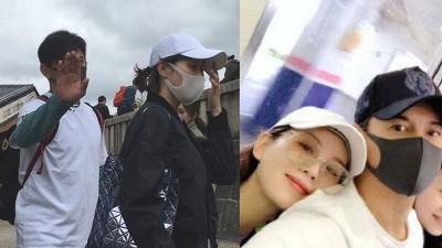 吴奇隆(右图右)与刘诗诗日前自拍照貌似在日本电车上,昨就有网友在京都巧遇两人。