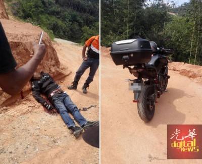 (左)死者头部、胸部和腹部中枪伏尸园丘里。(右)警方在靠近死者伏尸地方寻获1辆重型摩托车,相信属于死者。