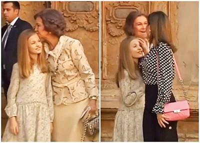 苏菲亚吻莱昂诺尔额头后(左图),莱蒂齐亚即出手抹女儿额头(右图)。