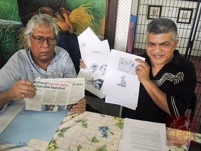 西瑟拉贞达兰(左)和祖乃尔促警方公开道歉,并归还祖纳被充公的画作。