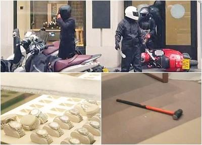 """匪徒""""分工有序"""",得手后遗下大锤及摩托车。"""