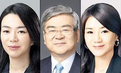赵亮镐(蒙)啊有限名女赵显娥(左)跟赵显旼(右)的所作所为公开道歉。