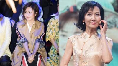 """(左)55岁的关之琳,走得哪里都是焦点。(右)陈美琪以《白娘子传奇》""""青蛇""""一角走红,与富商马伟清的7年婚姻,外传是因关之琳介入而破局。"""