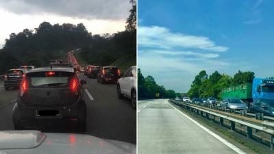 (左)南北大道往北方向,周二早10时许在打巴路段就出现塞车。(右)南北大道往北方向,万挠一带交通行驶缓慢,反观南下通行无阻。