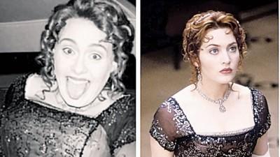 """英国歌姬爱黛儿(左)开《铁达尼号》主题生日趴,扮成片中的""""萝丝""""。"""