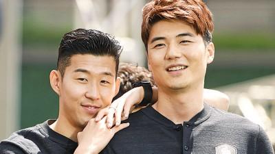 韩国队双子星孙兴民和寄诚庸。