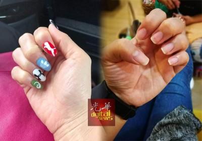 (左)涂指甲油或指甲彩绘并不会影响点墨投票。(右)许多女性选民为了避免丧失投票权,已赶在投票日前卸除指甲油。