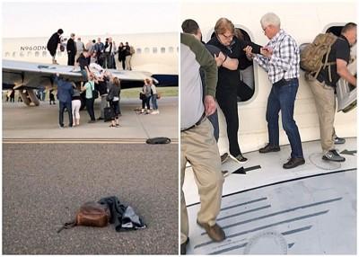 乘客慌忙疏散至机翼。